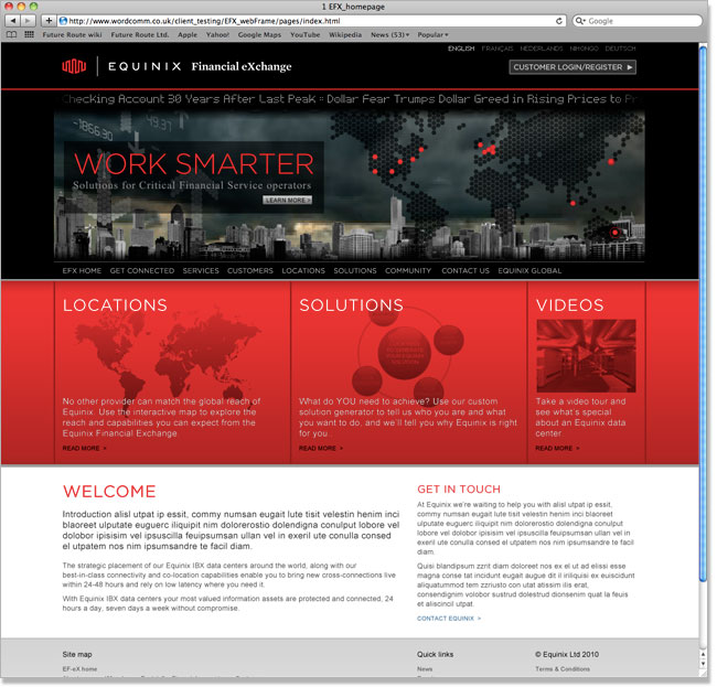 Equinix EFX website screenshot