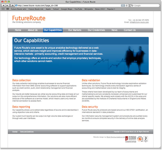 Future Route website screenshot